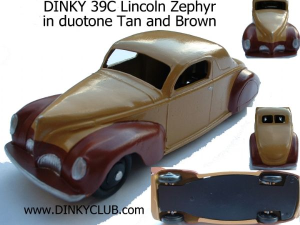 A DINKY TOYS COPY MODEL 39C LINCOLN ZEPHYR DUOTONE TAN AND BROWN
